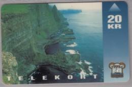 FÄRÖER TELEFONKARTE Taxcard 20 Kr, Motiv: Steilküste - Landschaften