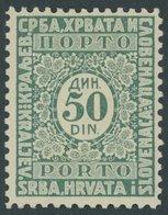 PORTOMARKEN P 61IIA *, 1921, 50 Din. Dunkelgrün, Type II, Falzrest, Pracht - Portomarken