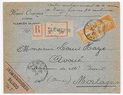 Alg24 France N°141 X2  Utilisé En Algérie Contre Remboursement 1921 - Marcofilia (sobres)