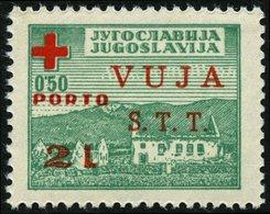 ZONE B ZP 1 *, Zwangszuschlagsporto: 1948, 2 L. Auf 0.50 Din. Dunkelgrün/rot, Falzrest, Pracht - Trieste