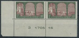 ALGERIEN 52 **, 1926, 1 Fr. Landschaften Mit Abart Abgesägter Baum (Yvert 51c), Im Paar Aus Der Bogenecke Mit Normaler M - Algerien (1962-...)