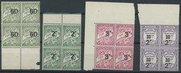 ALGERIEN P 18-20,24 VB **, Portomarken: 1927, 60 C. - 3 Fr. Und 2 Fr. Auf 10 C. Postauftragsmarken In Viererblocks, Post - Algerien (1962-...)