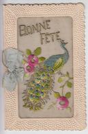 """CPA Brodée """"Bonne Fête"""" Avec Paon Sur Branche (carte Double) - Autres"""