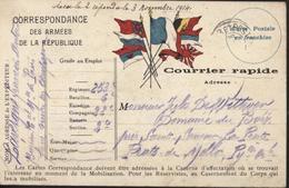 Guerre 14 FM Courrier Rapide Armée République Drapeaux Alliés Japon Russie Belgique Angleterre Serbie CAD Trésor Poste - Postmark Collection (Covers)