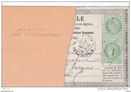 L4A102 France Paire Verticale Céres 5c étoile 1/ Fragment De CP Précurseur 22 02 1873 - Postal Stamped Stationery