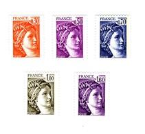 Série Des 5 Sabine En Gomme Hollandaise : 0.30fr , 0.50fr , 0.70fr , 1fr Et 1fr60 , YT 1968 - 1969 - 2056 - 2057 - 2060 - Variétés Et Curiosités