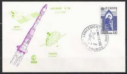 DZ--008--. GUYANE FRANCAISE-KOUROU-ARIANE-TIR V 16-SONDE SPOT & VIKING(21/02/86)  VOIR SCAN POUR DETAIL - Guyane Française (1886-1949)