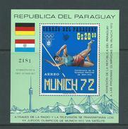 Paraguay 1971 Munich Olympics Miniature Sheet MNH , Small Colour Offset On Gum - Paraguay