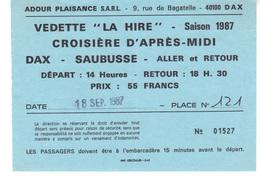 """Vedette """"La Hire"""" Saison 1987  Croisière D'après-midi   Dax-Saubusse   Aller Et Retour  - Adour Plaisance Dax - Europa"""