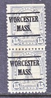 U.S. 566 X 2   Perf. 11    (o)    MASS.  1922-25 Issue - United States