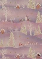Santa Claus With Reindeer At Christmas - WWF Panda Logo - Double Card - Santa Claus