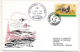TANZANIE / BELGIQUE - 2 Enveloppes SABENA - 1ere Liaison Aérienne - KILIMANJARO / BRUXELLES Retour 3/4/1982 Et 2/4/1982 - Tanzania (1964-...)