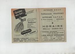 Dépliant Autocars SNCF Traffort Grenoble Horaire 1950 1951... - Transportation