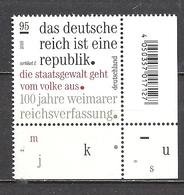 Deutschland / Germany / Allemagne 2019 3488 ** 100 Jahre Weimarer Reichsverfassung (01.08.19) - Ungebraucht