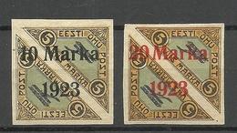 ESTLAND ESTONIA 1923 Michel 43 - 44 Signed A. Roig * Mi 44 Type B = Brick Red OPT - Estonia