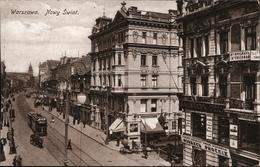 ! Alte Ansichtskarte Warschau, Warszawa, Nowy Swiat, Geschäfte, Straßenbahn Tram, Polen, Poland, Pologne, 1916, Feldpost - Pologne