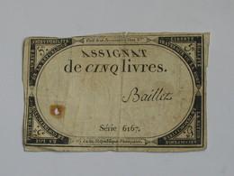 Domaines Nationaux - Assignat De Cinq Livres - Loi Du 23 Mai 1793. Série 6167  ***** EN ACHAT IMMEDIAT ****** - Assignats & Mandats Territoriaux
