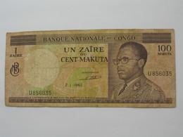 Un Zaire Ou Cent Makuta 1967- Banque National Du Congo   **** EN ACHAT IMMEDIAT **** - Congo
