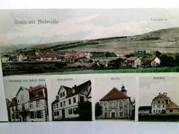 Gruss Aus Niederaula. Alte, Seltene Mehrbild AK Farbig (coloriert). Totalansicht, Gasthaus Jakob Stein, Amtsge - Deutschland