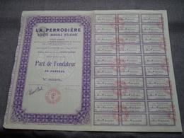 LA PERRODIERE Soc. Agricole D'élevage : Part De Fondateur Au Porteur : N° 015,689 ( Voir Photo ) - Agriculture