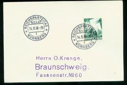 WW II Stempelbeleg : Mit Sonderstempel Nürnberg Reichsparteitag Der NSDAP 1936 ,Buchstabe F . Seltener Sonderstempel. - Lettres & Documents