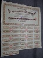 Ets. SOEHNLIN : Action De 500 ( 250 ) Francs Au Porteur : N° 000,029 ( Voir Photo ) - Acciones & Títulos