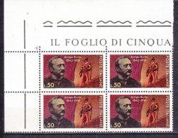 PGL DF085 - ITALIA REPUBBLICA 1968 SASSONE N°1089 ** QUARTINA - 1961-70:  Nuovi