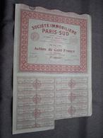 Soc. Immobilière PARIS-SUD : Action De 100 Francs Au Porteur : N° 065,063 ( Voir Photo ) - Actions & Titres