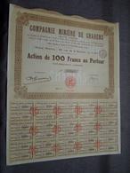 Cie Minière De CHARENS : Action De 100 Francs Au Porteur : N° 11562 ( Voir Photo ) - Mines