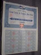 Grand Casino De CHAMONIX - MONT BLANC : Action De 100 Francs Au Porteur : N° 20574 ( Voir Photo ) - Casino