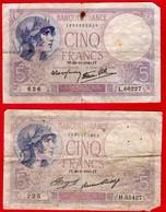 -- DEUX BILLETS DE 5 FRANCS -- - 1871-1952 Antiguos Francos Circulantes En El XX Siglo