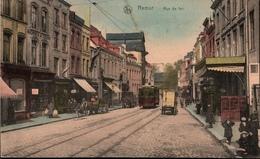 ! Alte Ansichtskarte Namur, Rue De Fer, Straßenbahn, Tramway, 1916 Belgien, Feldpost Landsturm Hannover X.8. - Namur