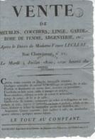 /!\ 1303 - Parchemin - 1820 -Paris -  Affiche De Vente (Rue Chanoinesse) - Manoscritti