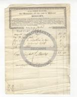 /!\ 1310 - Parchemin - 1822 - Paris -  Facture - Mouchy, Laines Et Tissus - Manoscritti