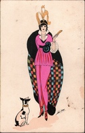 ! Künstlerkarte  Xavier Sager, Art Deco, Dame - Sager, Xavier