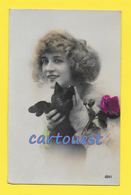 CPA   ☺♦♦   CHAT Noir FEMME - Rose - Cats