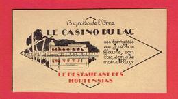 BAGNOLES DE L ORNE 1929 LE CASINO DU LAC LE RESTAURANT DES HORTENSIAS CARTE EN TRES BON ETAT - Bagnoles De L'Orne