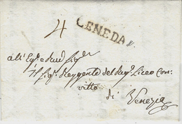 1817 - Lombardo-Venetie - Lettre De CENEDA   ( Voll. N°3 )  Taxe 4 Manuscrite Pour Venezia - ...-1850 Voorfilatelie