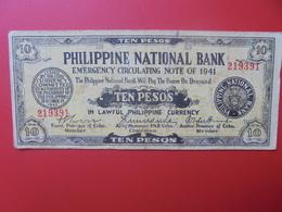 PHILIPPINES 10 PESOS DECEMBRE 1941 (EMERGENCY CIRCULATING NOTE) CIRCULER (B.6) - Philippines