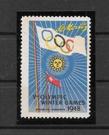 Vignette Jeux Olympiques St Moritz JO 48 ** - Winter 1948: St. Moritz