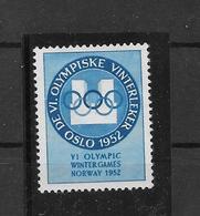 Vignette Jeux Olympiques Oslo JO 52 ** - Winter 1952: Oslo