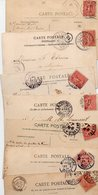 TIMBRE TYPE SEMEUSE LIGNEE...10c ROSE......VOIR DETAIL...LOT DE 100 SUR CPA.....VOIR SCAN......LOT 7 - 1903-60 Semeuse Lignée