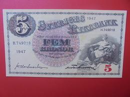 SUEDE 5 KRONOR 1947 CIRCULER (B.6) - Suède