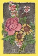CPA ☺♦♦   THEME FLEUR ROSE TOURNESOL - Ajoutis - Paillettes - Découpis - Flowers
