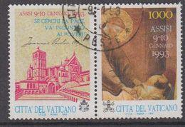 Vatican City 1993 Assisi 1v (+label) Used (44398A) - Gebruikt