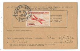PA N°32 SEUL CARTE ABONNEMENT POSTE RESTANTE ROUEN 23.9.1954 MANQUE LA PHOTO AU TARIF PEU COMMUN - Storia Postale