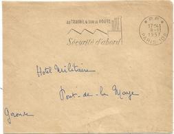 LETTRE MECANIQUE SECAP SECURITE D'ABORD PP 8.11.1957 PARIS 108 - Marcophilie (Lettres)
