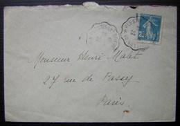 Plestin Les Grèves à Lannion, Cachet Convoyeur De 1922 Sur Une Lettre Pour Paris - Marcophilie (Lettres)