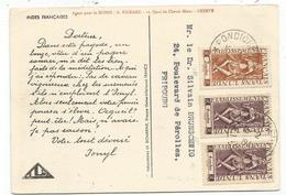 INDE FRANCAIS 2 CACHES+ 4 CACHESX2 CARTE PUB IONYL PONDICHERY 1949 POUR SUISSE - India (1892-1954)