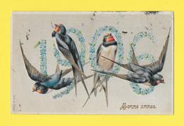 CPA ☺♦♦   THEME NOUVEL AN 1906 - FLEURS ET HIRONDELLES GAUFFRE - MIOSOTIS - Rouge-gorge - Año Nuevo